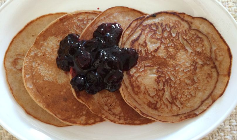 Greek Yogurt Pancakes with Blueberry Sauce