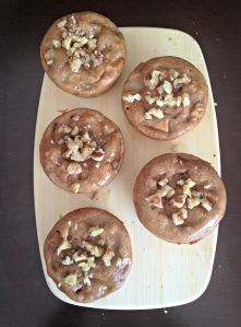 Pear Muffins with a Ginger-Walnut Glaze