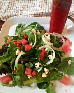 Watermelon and Feta Cheese Salad with Watermelon Viniagrette
